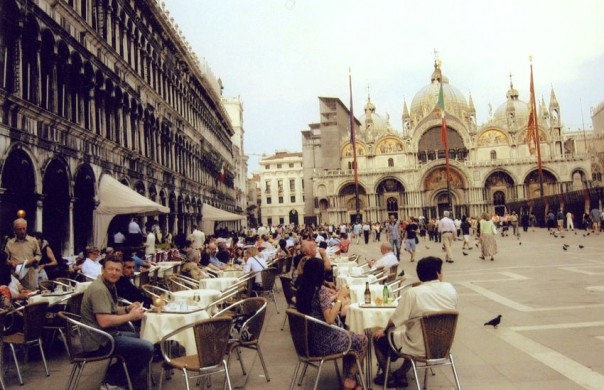 Open-air cafe in Venice's Piazza San Marco