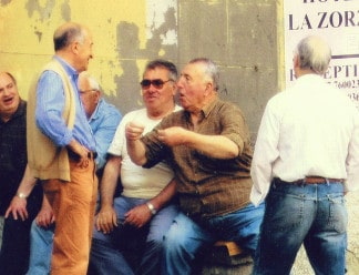Men laughing in Liguria northwest Italy