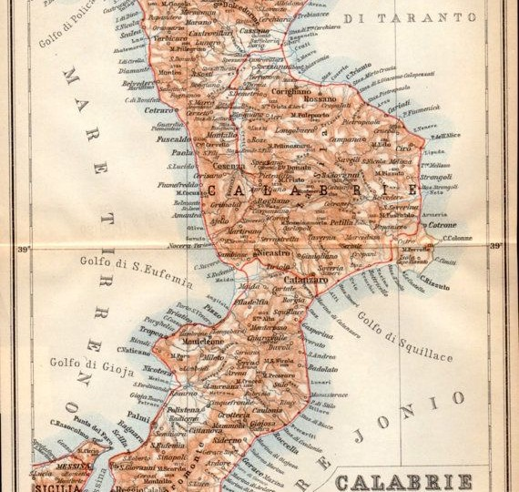 1908 map of Calabria, Italy
