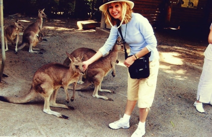 Marianne petting a Kangaroo at the Cairns Tropical Zoo in northern Queensland, Australia