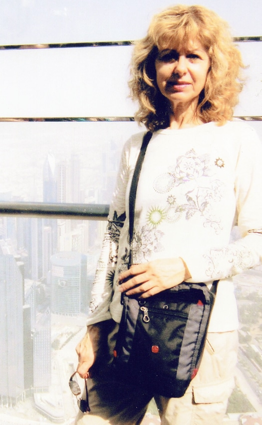 Marianne Perry on the top floor of Burj Khalifa