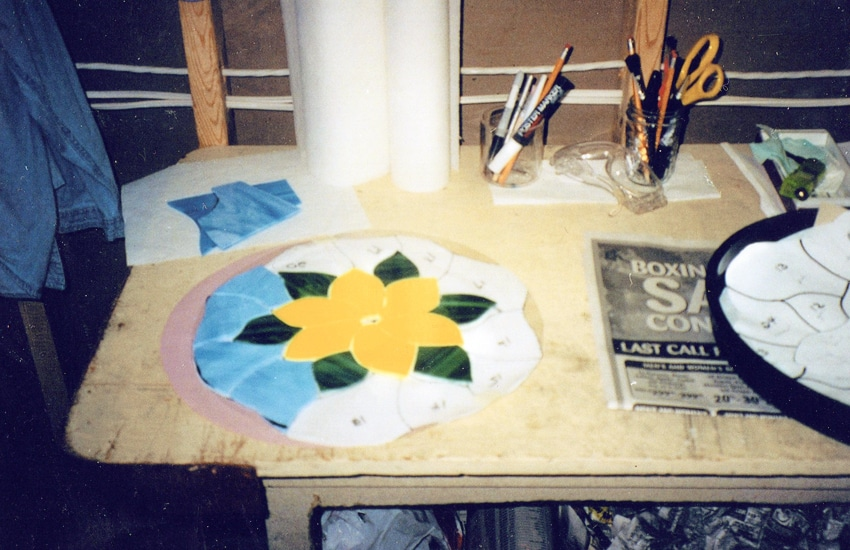 Stained glass stepping stone
