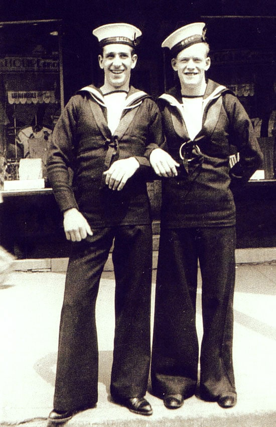 Arnold Joseph Perry with Naval Officer during WW2
