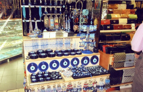 Glass blue eye bead crafts in The Grand Bazaar in Instabul