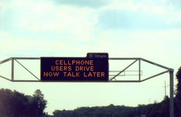 Ontario warning triffic sign