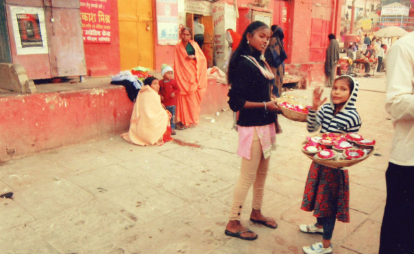 Girls selling diyas