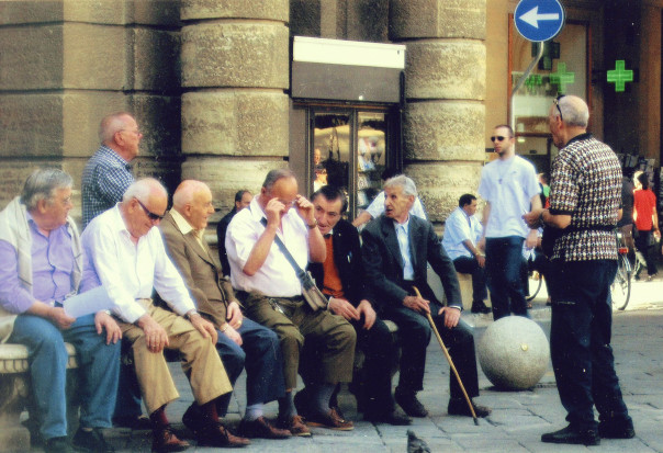 Group of men in Florence Italy