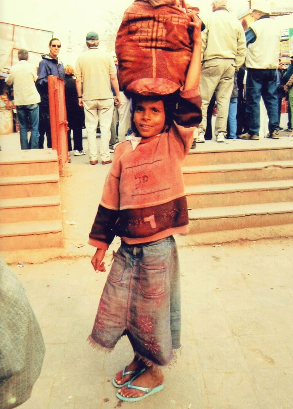 Little boy posing for photo in India
