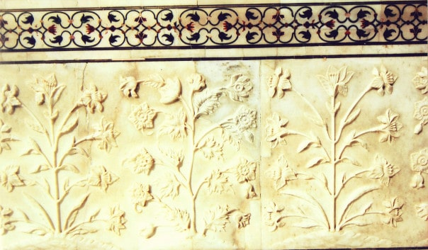 White Marble floral relief panel