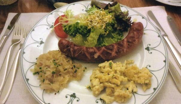 Sauerkraut spaetzle sausage