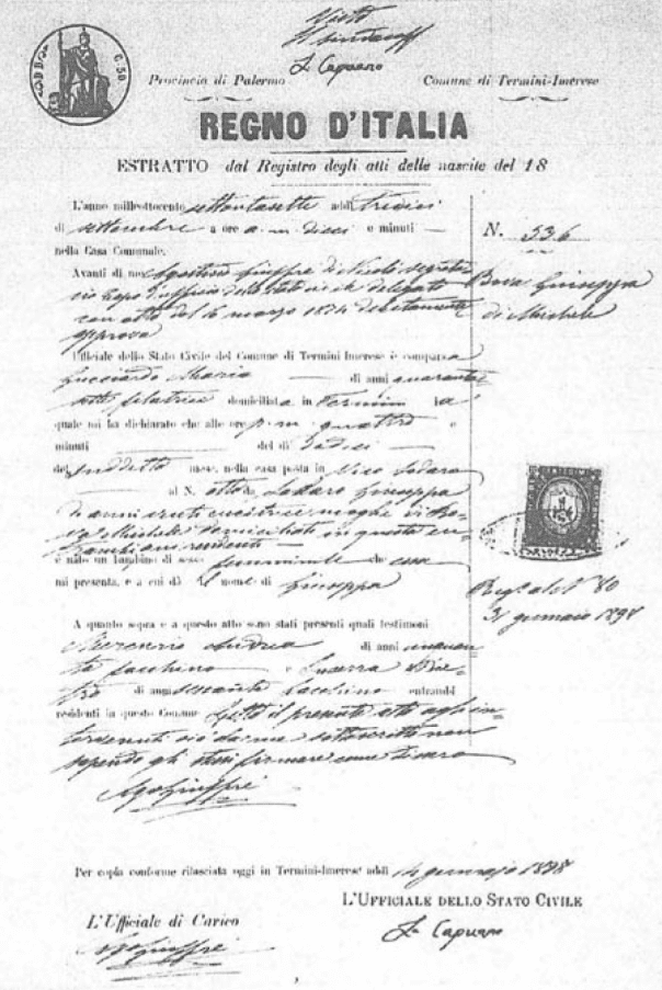 1878 birth certificate