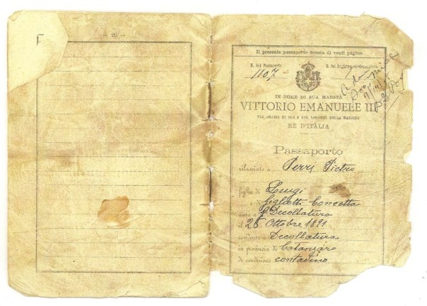 1910 Italian passport issued to my grandfather, Pietro Perri, for his immigration to North America.