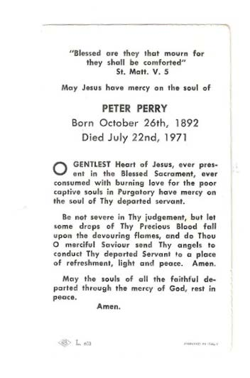 Peter Perry Funeral Card