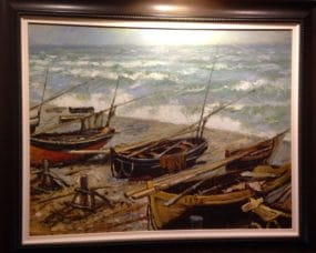 This painting of old wooden boats speaks to the salmon fishing central to the Miramichi River.
