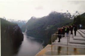 Norwegian fjord: narrow and deep inlet between high mountain cliffs.