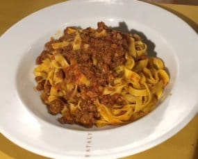 Tagliatelle al Ragu Bolognese: A meat-based pasta sauce. Bologna, Italy.