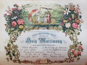 Ancestral Marriage Certificate from Bible. Ontario, Canada. March 23,1875.