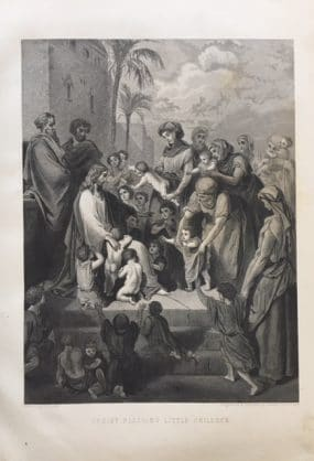 Illustration of Christ Blessing Little Children. Engraved & Printed by Illman Brothers.