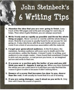 The American author, John Steinbeck (1902-1968) won the 1962 Nobel Prize in Literature. Number six helped me write dialogue.
